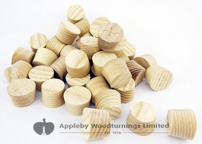 """3/8"""" Ash American White Tapered Wooden Plugs 100pcs"""