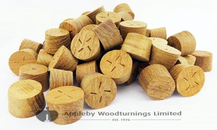 28mm Teak Tapered Wooden Plugs 100pcs