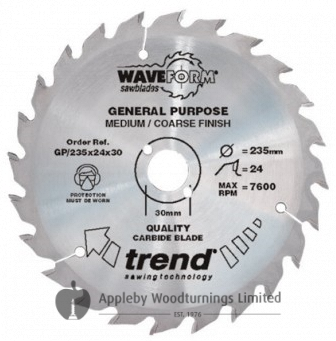 190mm Z=24 Id=30 TREND Industrial Hand Held/Portable Saw Blade To Fit Festool AP65