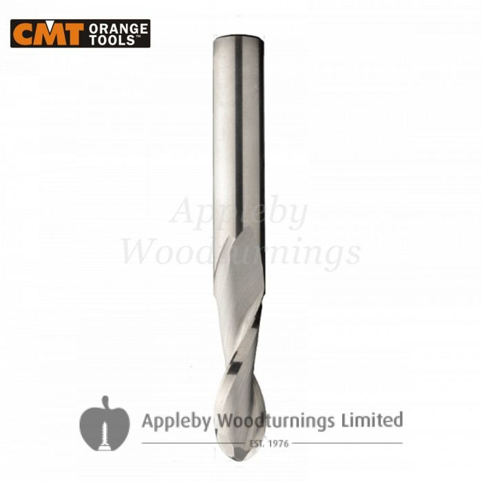19.05mm dia x 57.2mm cut CNC S=19.05mm Round Ball Nose Up Cut Spiral Router 2 Flute R/H CMT