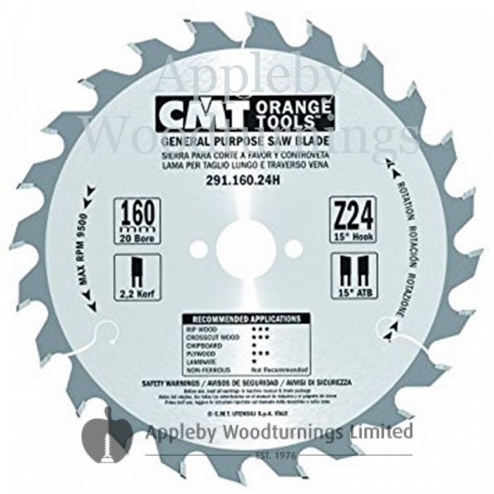 160mm Z=24 Id=20 CMT Hand Held / Portable Saw Blade To Fit Festool TS55