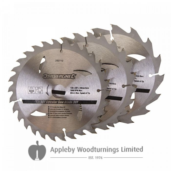 3 Pack 150mm Silverline TCT Circular Saw Blades 292712