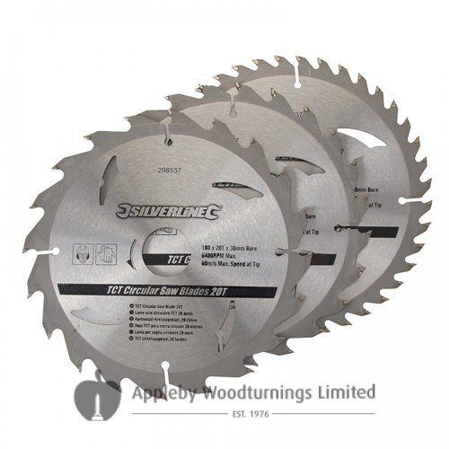 3 pack 180mm Silverline  TCT Circular Saw Blades 298537