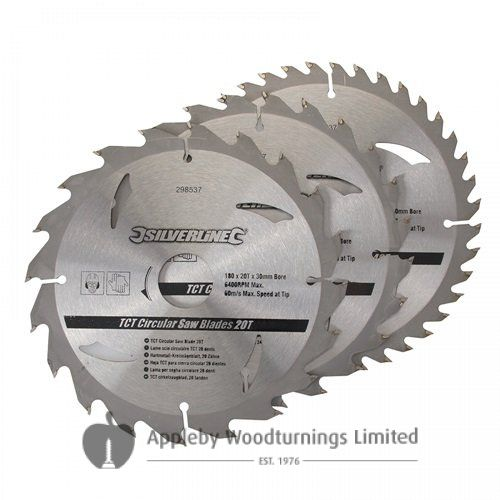 3 pack 180mm  TCT Circular Saw Blades to suit  POWER DEVIL PDW5008