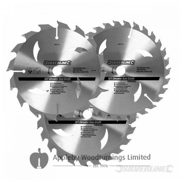 3 Pack 160mm Silverline TCT Circular Saw Blades 436755