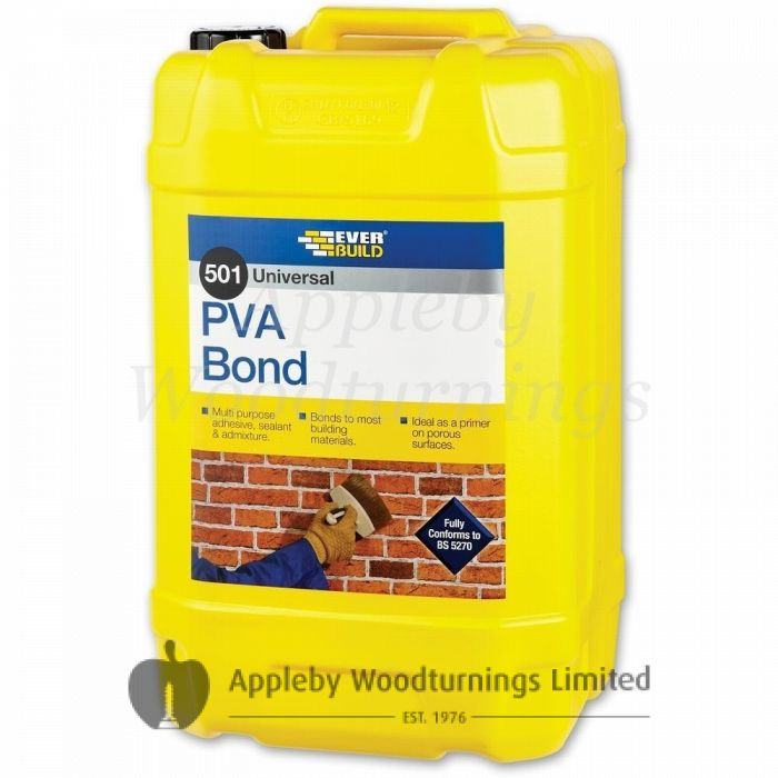 Universal Interior/Exterior Water based Paint-able PVA Bond Wood Glue 5 ltr Everbuild