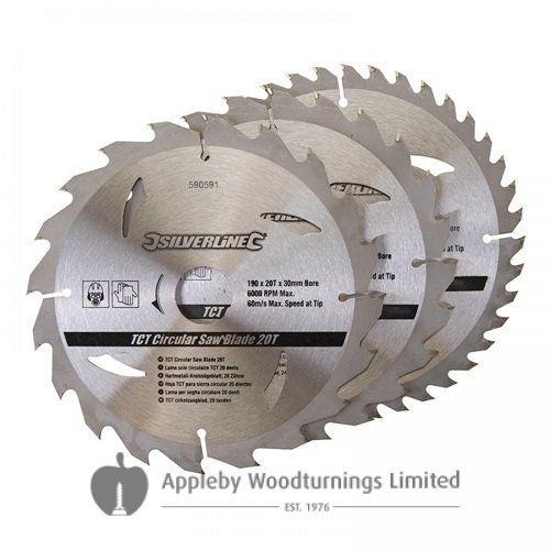3 pack 190mm TCT Circular Saw Blades to suit  DEWALT DW65, DW365