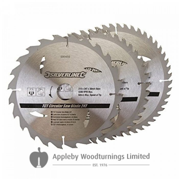 3 Pack 210mm TCT Circular Saw Blades Id=30mm to suit METABO KGS255