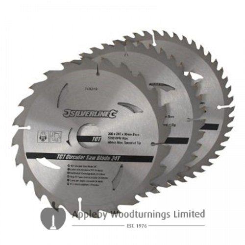 3 pack 205mm Silverline TCT Circular Saw Blades 408979