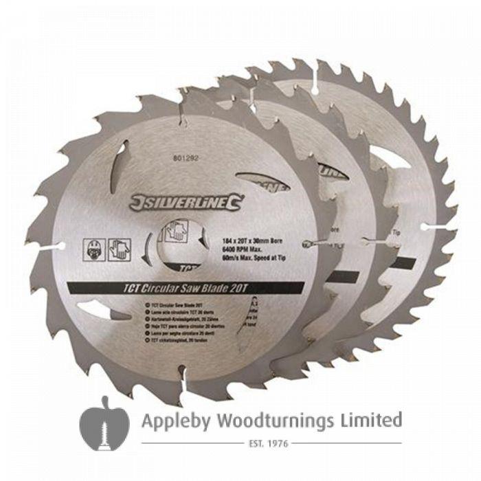 3 Pack 184mm TCT Circular Saw Blades to suit DEWALT DW62