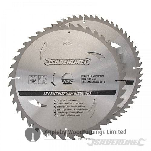 2 pack 300mm Silverline TCT Circular Saw Blades 803634