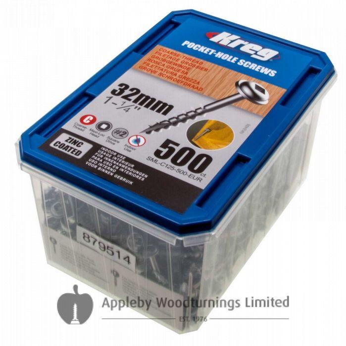 "500 Kreg screws 32mm (1inch 1/4) SML-C125-500-EUR Coarse Thread Washer Head No 8 x 1-1/4"""