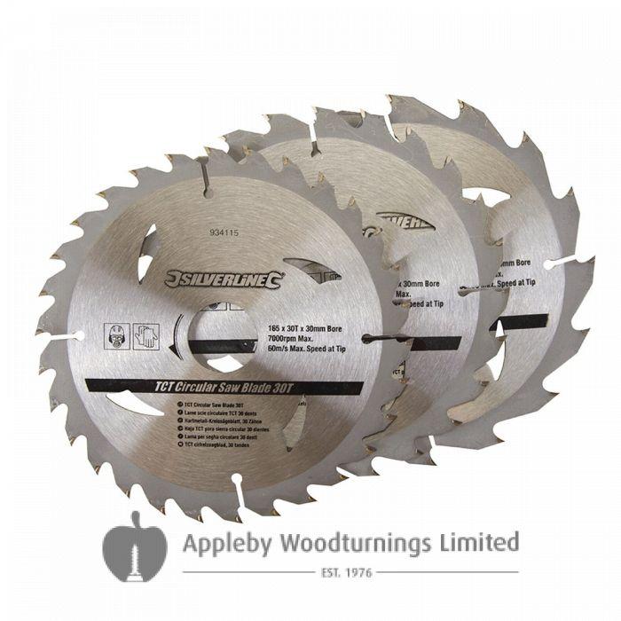 3 Pack 165mm Silverline TCT Circular Saw Blades 934115