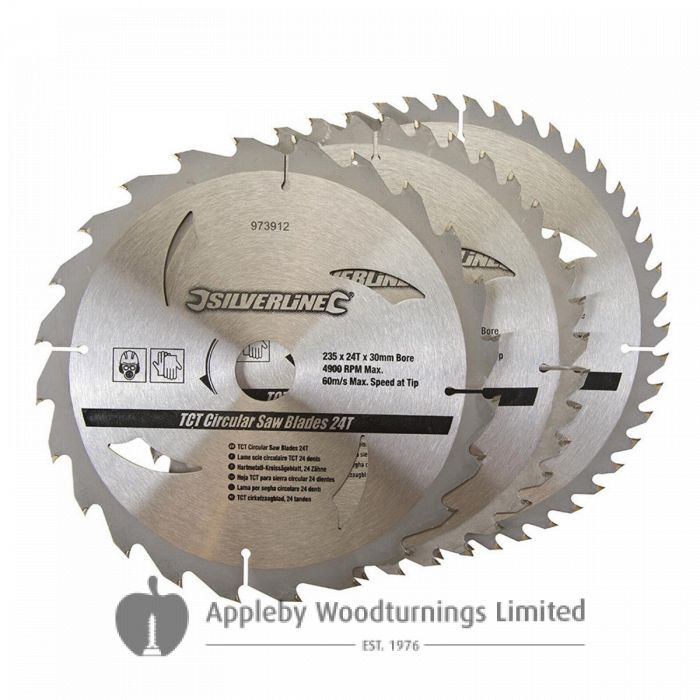 3 pack 235mm TCT Circular Saw Blades to suit BLACK & DECKER P3902