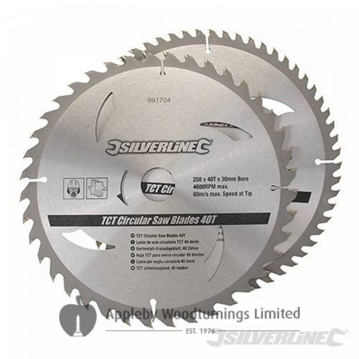 2 pack 250mm TCT Circular Saw Blades to suit DELTA 36-250,-210-070,240,074,520