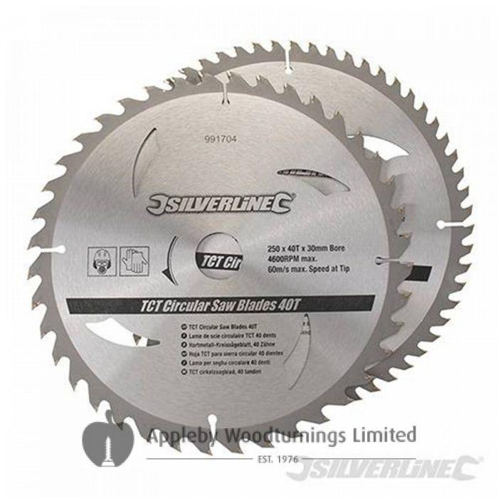 2 pack 250mm TCT Circular Saw Blades to suit DEWALT DW250,1251,1501,710,1751/3,720,778,717XPS