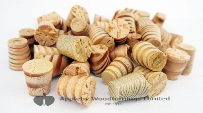 "3/8"" Columbian Pine Tapered Wooden Plugs 100pcs"