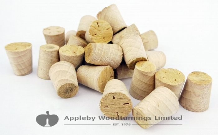 "3/8"" White Beech Tapered Wooden Plugs 100pcs"