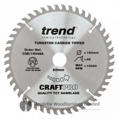 160mm Z=48 Id=20 TREND CRAFT Hand Held / Portable Saw Blade To Fit Festool CSP55