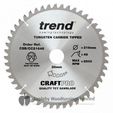 216mm Z=48 ATB Trend CRAFTPRO Mitre / Cross Saw Blade Id=30mm