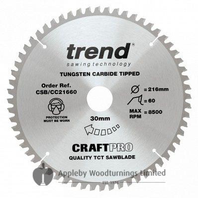 216mm Z=60 ATB Trend CRAFTPRO Mitre / Cross Saw Blade Id=30mm