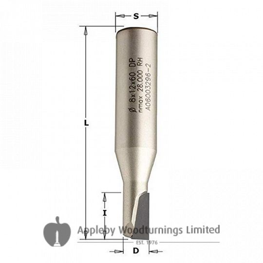 10mm dia x 22mm cut CNC PCD Diamond Spiral Router Straight Bit Shear Angle Z=1+1 S=12mm R/H CMT