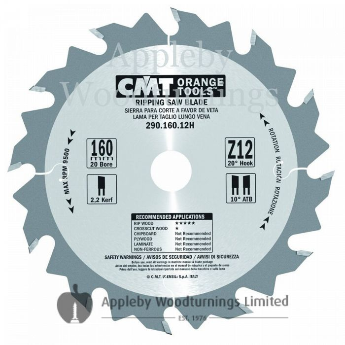 160mm Z=12 Id=20 CMT Hand Held / Portable Saw Blade To Fit Festool CSP56