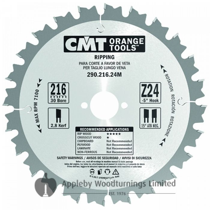 250mm Z=24 ATB Id=30 CMT Table / Rip Saw Blade