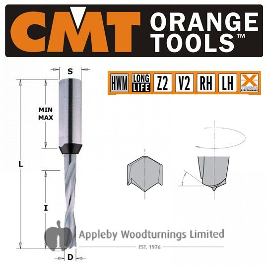 3mm x 70mm Solid Carbide Lip & Spur Dowel Drill Bit R/H CMT