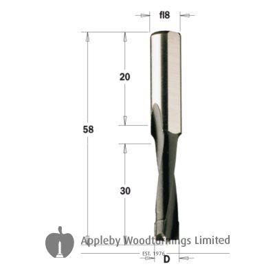 Mafell 4mm Carbide Tipped Dowel Drill Bit 8mm Shank