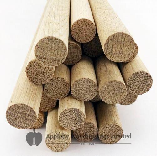 100 pcs 1 Dia Oak Dowel Rods 12 Inches (25.4 x 300mm) Long Imperial Size