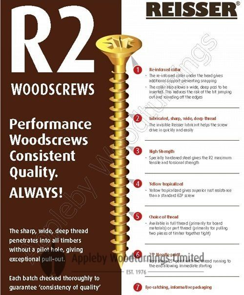 4.0 x 60mm Reisser R2 Woodscrews 500pcs