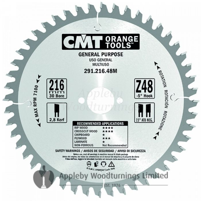 184mm Z=24 ATB Id=16 CMT Table / Rip Saw Blade 291.184.24E