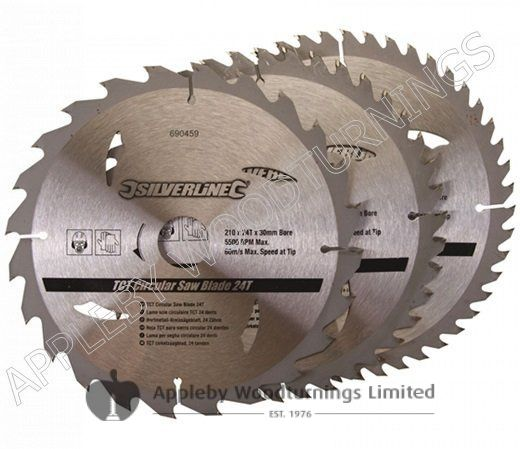 3 Pack 210mm Silverline TCT Circular Saw Blades Id=30mm 690459