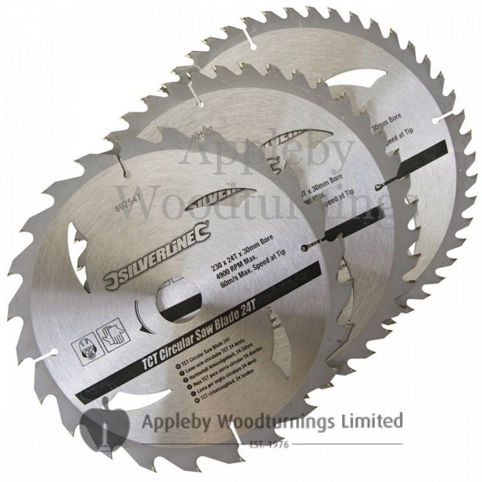 3 pack 230mm Silverline TCT Circular Saw Blades 892547