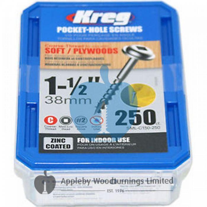 250 SCREWS 1 1/2 Inch KREG Pocket Hole Washer Heads SML-C150 38mm