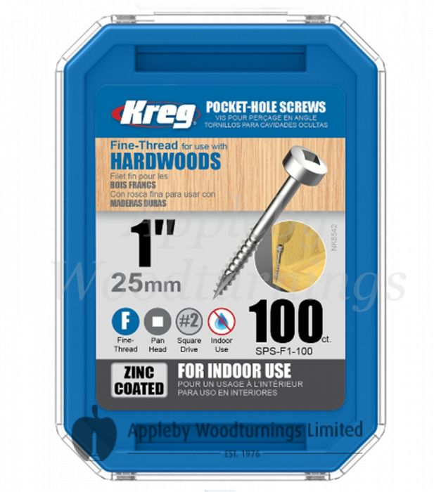 100 SCREWS 1 Inch KREG 25mm Fine Thread Pan Heads SPS-F1