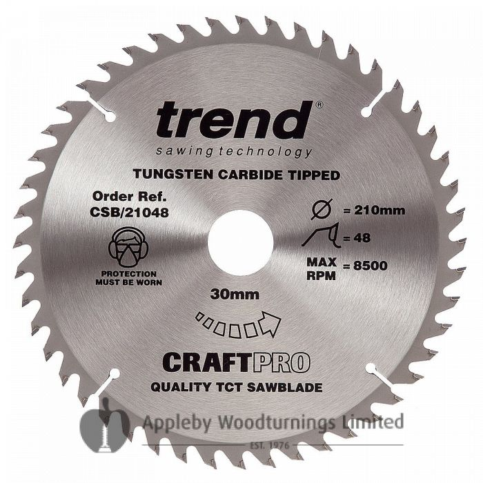 250mm Z=48 ATB Id=30 Trend Table / Rip Saw Blade 16,20+25.4mm Rings Included CSB/21048