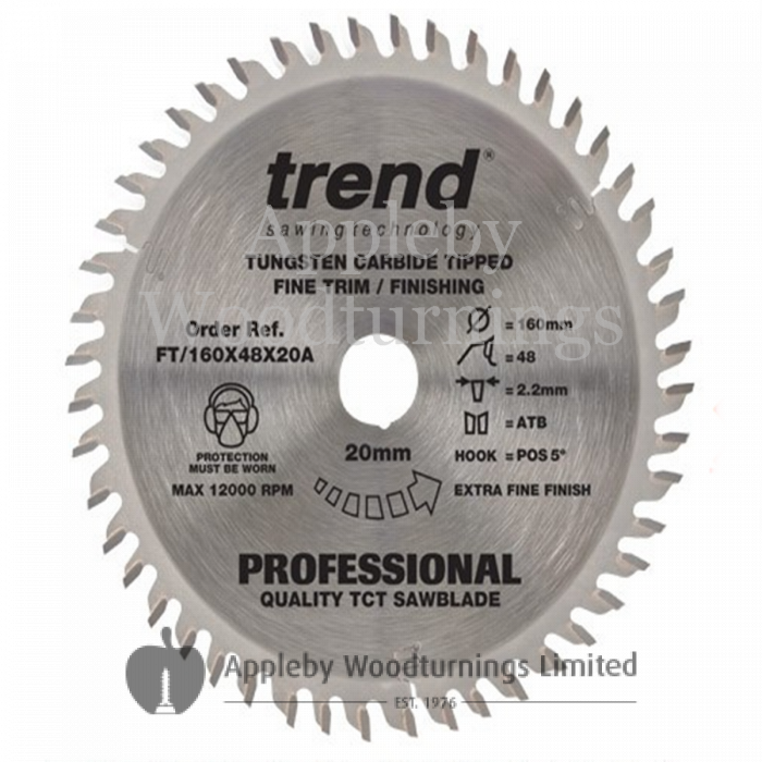 160mm Diameter Z=48 Id=20 TREND Industrial Hand Held / Portable Saw Blade To Fit Festool TS55 Machine