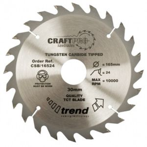 190mm Z=24 ATB Id=30 Trend Table / Rip Saw Blade 16+20mm Rings Included CSB/19024