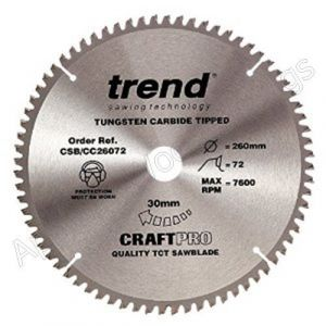 260mm Z=72 Id=30 TREND Negative Cutting Angle Saw Blade