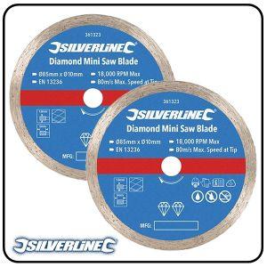 85mm Continuous Rim Diamond Mini Saw Blade - 2 pack