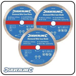 85mm Continuous Rim Diamond Mini Saw Blade to suit Silverline, Titan & Worx mini saws - 2 pack