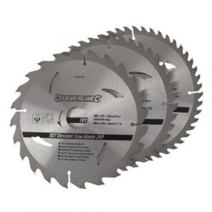 3 pack 205mm Silverline TCT Circular Saw Blades 408979