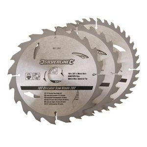 3 Pack 184mm Silverline TCT Circular Saw Blades 801292
