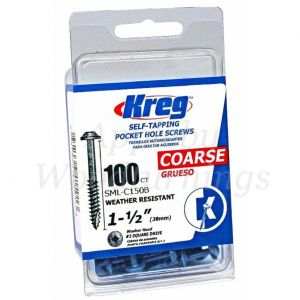 100 SCREWS 1 1/2 Inch KREG Blue Kote Washer Head SML-C150B 38mm