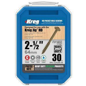 """Kreg SML-C2X250-30 2 1/2"""" (64mm) Protec Kote #14 Kreg Jig HD Pocket-Hole Screws 30pcs"""