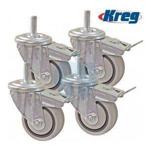 """Kreg 3"""" Heavy Duty Rubber Swivel Caster Wheels With Dual Brake Lock 4 Pack PRS3090"""