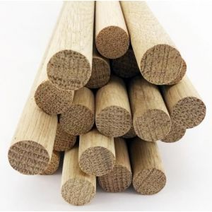 100 pcs 1 Dia Oak Dowel Rods 12 Inches (25.4 x 300mm) Long Imperial Size