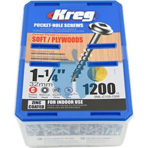 1200 Kreg screws 32mm (1inch 1/4) Coarse Thread Washer Head SML-C125